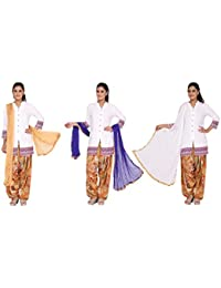 Nikita Women's Synthetic Chiffon Dupattas(Beige,Purple,White Colors) Pack Of 3 Combo