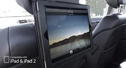 Apple iPad 2 / 3 / 4 Housse pour l' appui-tête du siège de voiture (Alias: BLACK Dual Function In-Car Headrest Holder & Flip Case Cover for iPad 4 / iPad 3 / iPad 2 Models) - Etui en NOIR Convient pour iPad2 / iPad3 / iPad4 Modèles / Versions