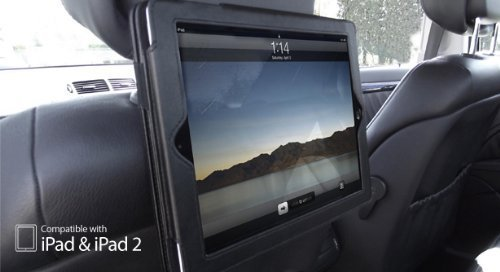 Apple iPad 2 / 3 / 4 FUNDA / SOPORTE para REPOSACABEZAS DEL COCHE en NEGRO - Apto para iPad2 / iPad3 / iPad4 (Alias: BLACK Dual Function In-Car Headrest Holder & Flip Case Cover for iPad 4 / iPad 3 / iPad 2 Models)