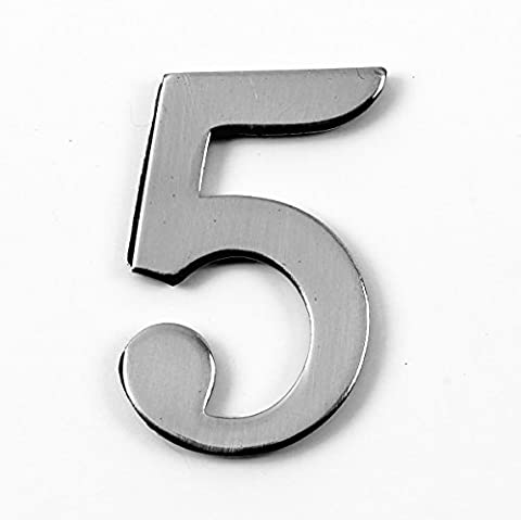 1.5 - 2 Inch Self Adhesive Solid Brass Numbers & Letters Chrome Finish (5)
