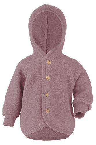 Engel Baby Jacke Fleece, Schurwolle, Natur, Gr. 50/56-86/92, 4 Farben (74/80, Rosenholz Melange)