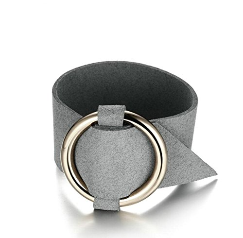 Beydodo Fraun Edelstahl Armband mit Kreis Biker Lederarmband Damenarmband Leder Armbänder Silber Länge 25.5CM