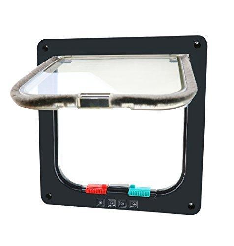 CEESC Porte Chatière Magnétique pour animal domestique avec serrure à 4 voies, 3 Tailles et 2 Couleurs - pour Chats, Chiots et Chiens de Petite Taille