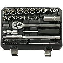 52tlg dentado pulgadas Torx Gear Lock Perfil XZN Perfil E Juego de 12llaves de vaso (6cantos–Harley–zöllisch–Métricas de 1/4y 3/8–Nogal puntas 4–19mm