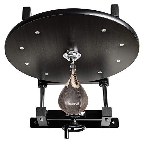 Deluxe Speedball Plattform Set inkl. Drehkugellagerung schwarz und Rindsleder Boxbirne med. braun/Boxapparat für die Wandmontage BCA-38