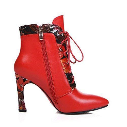 JAZS® folk-custom Rough high Cowhide Stampa con pizzo a punta Stivali da donna Stivali Martin Comodo, resistente all'usura, sexy, dolce. ( Colore : Rosso , dimensioni : 39 ) Rosso