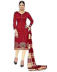 Kalish Women's Maroon Color Banarsi Jacquard Embroidered Dress Material