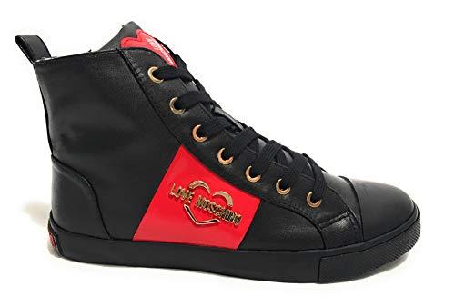 Moschino scarpe donna love sneaker alto in ecopelle nappa nero d20mo14