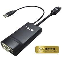 Accell B087B-002B - Adaptador para cable (macho/hembra, DVI-D, USB M, DisplayPort M, Negro)