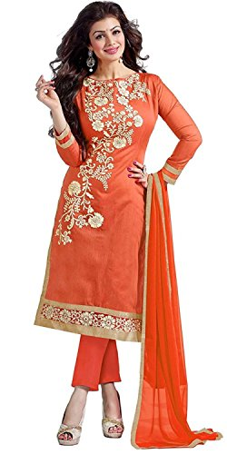 Expert Women's Clothing Designer Party Wear Low Price Sale Offer Orange Cotton Embroidered Free Size Salwar Kameez Suit Dress Material