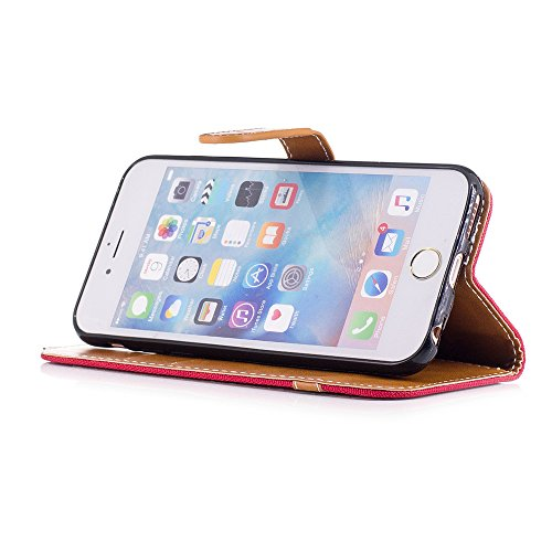 Nutbro iPhone SE Case,iPhone 5S Case,Denim Wallet Case for iPhone SE with Card Holder Fodable Kickstand Flip Cover Protective Case Cross Pattern Magnet Case BF-iphone-5S-76
