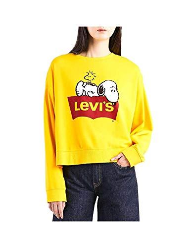 lover Sweatshirt Graphic Crew Peanuts Yellow XS ()