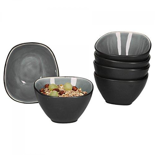 Van Well Elements 6-TLG. Müslischalen-Set | 650 ml | edle Geschirr-Kollektion | glasiertes Steingut | Kleine Salat-Schalen | Farbe:grau-schwarz