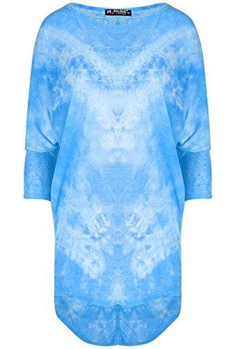 Be Jealous Damen Kurzärmlig überdimensional Batik Fledermausärmel Baggy Tauch Saum Hi Lo Mini Top UK Übergröße 8-22 Himmelblau