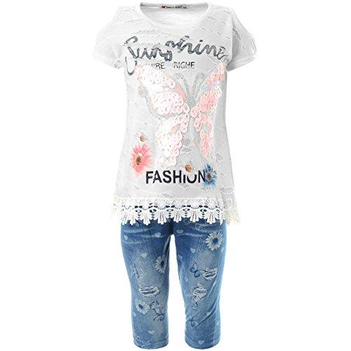 Mädchen Kurzarm Shirt Capri Hose Outfit 2tl Set 21779, Farbe:Weiß, Größe:104 (Capri Sommer Outfit Set)