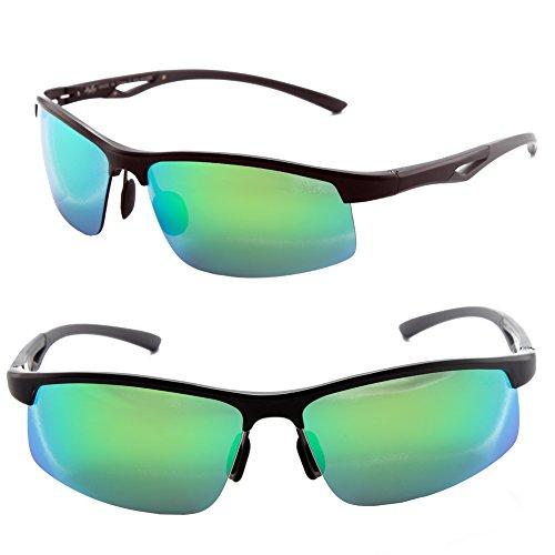 Männer Frauen Stil polarisierte Sonnenbrille Metallrahmen Sportbrillen (Schwarz, Grün Blau Grandient)