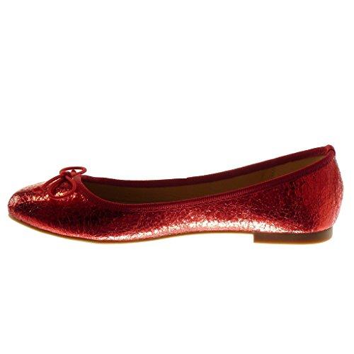 Angkorly Scarpe Moda Ballerina Slip-On Donna Nodo Pelle di Serpente Lucide Tacco Tacco Piatto 1 cm Rosso