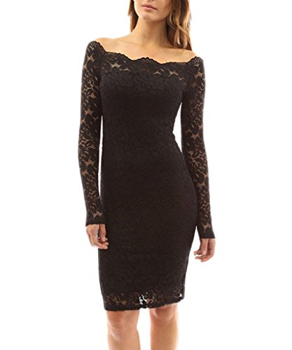 Minetom Donna Senza Spalline Pizzo Manica Lunga Mini Vestito Party Club Cocktail Vestiti Nero IT 46