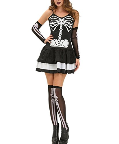 DuuoZy Damen Sexy Skeleton Printed Dress Set Seductive Cosplay Fancy Dress Kostüm , L , (Kostüme Showgirl Fancy Dress)