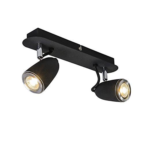 QAZQA Design/Modern Retro Spot/Spotlight/Deckenspot/Deckenstrahler/Strahler/Lampe/Leuchte schwarz schwenkbar und neigbar - Taza 2-flammig/Innenbeleuchtung/Wohnzimmerlampe/Schlafzimm