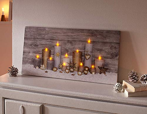 TFH LED Bild Kerzen Wanddeko Weihnachten Leuchtend Wandverzierung Bilderrahmen modern Ausgefallen Deko Winter Herbstdeko Leuchtbild