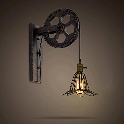 Modeen Loft industriel rétro ascenseur poulie LED lampe de mur américain créatif réglable hauteur faire le vieux fer applique murale lumière Edison E27 (Taille : E)