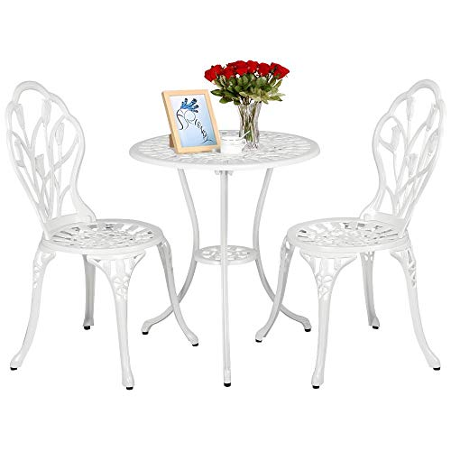 Yaheetech Tavolo e Sedie da Giardino Balcone 1 Tavolo e 2 sedie 3 Pezzi in Lega di Alluminio Bianco