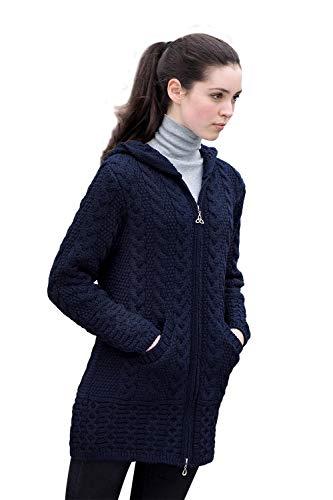 Aran Crafts 100% Merinowolle Damen Zip Zig Zag Jacke (Navy, XXL) -