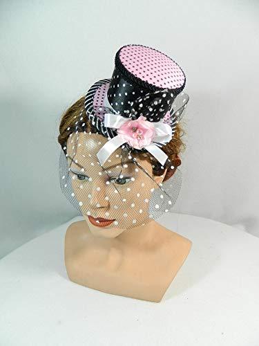 Mini Zylinder rosa schwarz weiß Streifen Punkte Polkadots Damenhut - Viktorianischen Tanz Kostüm