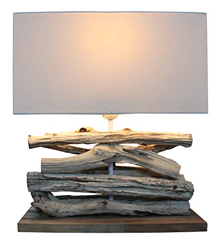 Holz Lampe Perifere Eisenholz Handarbeit mit Baumwoll Schirm natur massiv ca. 35 x 15 x 39 cm nachhaltig Tischleuchte Tischlampe (Perifere) -