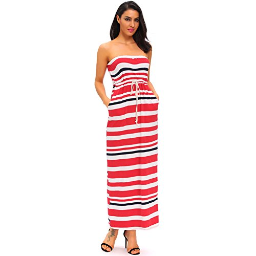 PU&PU Femmes Occasionnels Off-épaule rayures Imprimer Lace-up Maxi robe, sans manches red