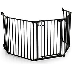 Hauck / Grille de Protection de Cheminée Firplace Guard XL / pour enfants, chiens et chats / longueur 2,67 m et hauteur 75 cm / materiel de fixation inclus / avec porte, en métal recouvert / noir gris anthracite