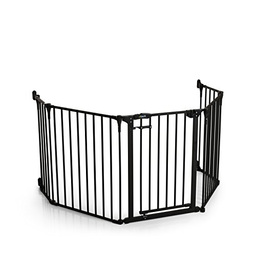 Hauck Fireplace - Barrera de seguridad reja de protección quitafuegos para chimenea parque para niños corralito, longitud de 267 cm, color negro