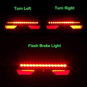 Luz Trasera de Bicicleta Inteligente, USB Recargable Intermitentes Inalámbricos & Luz de Freno, Resistente al Agua LED Luces Traseras para Ciclismo de Seguridad