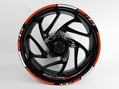 Bike Label 710031A Felgenrand-Aufkleber Set für Motorrad-Felgen Racing-Orange