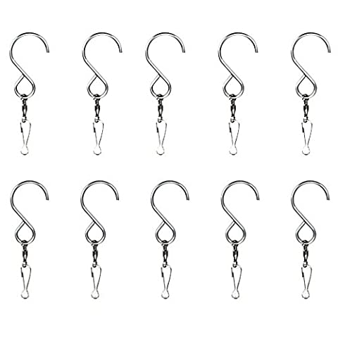MyArmor Smooth Spinning Swivel Clip Hanging S Hooks Wind Spinner Rotate Spiral Tail Crystal Twister Display Hanger (10 pack)