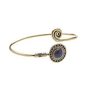 81stgeneration Frauen Messing Gold Ton Edelstein Stammes Ethic indischen Einstellbar Stulpe Armband