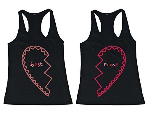 BFF camisetas a juego con corazones a juego para mejores amigos -  negro -  izquierda- XX-Large / derecho- XX-Large