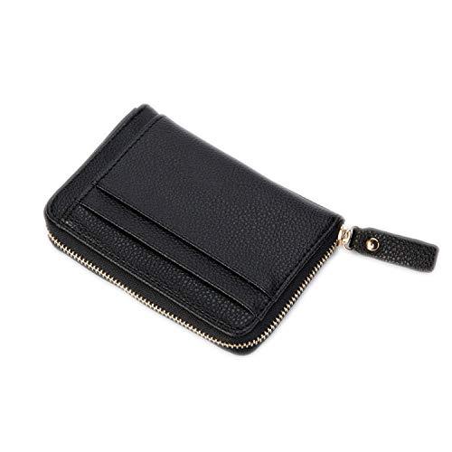 Herren Geldbörse Leder Herren Business Geldbörse Vintage Geldbörse Reißverschluss Kartenpaket Ausweis Kreditkarten Taschen, Schwarz (Schwarz) - uk-B-EwizEnfIlGBI4vI9iP
