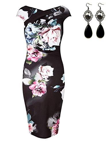 sitengle Damen Kleider Elegant Festlich Printkleider Blumen Drucken Bunte Kleider hit Farbe Slim Ärmellose Abendkleid Casualkleider Rosa XXL