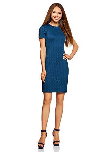 oodji Ultra Damen Enges Kleid mit Reißverschluss Blau (7901N)