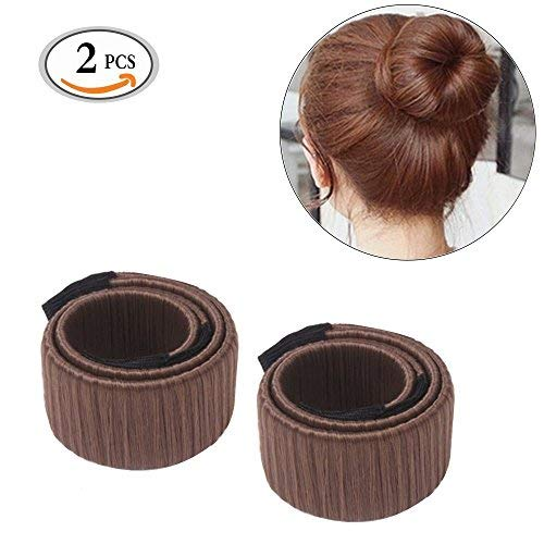 MLMSY Hair Bun Maker Pelo Donut Donut Hair Styling Disco Anterior Foam Francés Magic Torcedura Hairstyle Clip Herramientas de bricolaje Quick & Easy Hair Bun Updo Maker Accesorios (marrón)