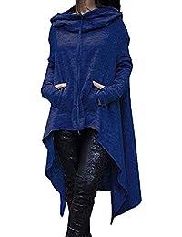 Sudaderas con Capucha Mujer Primavera Otoño Camisas Top Elegante Moda Casual Color Sólido Manga Larga Irregularmente