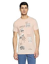 Jack & Jones Mens T-Shirt (5713447644113_12121137Peach Beige_Medium)