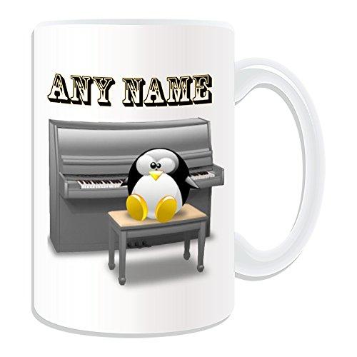Personalisiertes Geschenk, großer Piano Tasse (Design Pinguin in Kostüm Thema, weiß)–alle Nachricht/Name auf Ihre einzigartige–Musik Musikinstrument