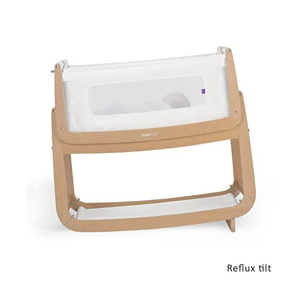 SnuzPod 3 Bedside Crib - Natural Snuz SnuzPod 3 has added functionality, a lighter bassinet and a more breathable sleeping environment. More than just a bedside crib; use as a bedside crib, stand alone crib or moses basket/bassinet. Simply attach the crib to your bed using straps provided (fits frame and divan beds) and your ready use as a bedside crib. The 9 different height settings allow you to ensure the crib is the right height for your bed (31-63cm) New! SnuzPod 3 now comes with an optional reflux function, by tilting the crib and setting an incline to reduce reflux symptoms little one can get a better nights sleep. 4