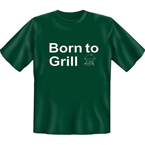Grillshirt: Born to Grill - grillen T-Shirt Fb dunkel-grün Dunkelgrün