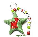 AngelicArt Namenskette/Schlüsselanhänger mit Namen, Personalisiert, Verschiedene Modelle für Schultaschen, Kita-/Wickeltaschen für Babys und Kinder (grün, rot, REH)