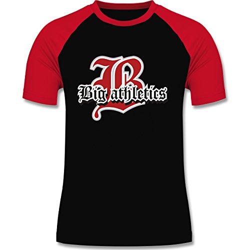 Basketball - Big Athletics - zweifarbiges Baseballshirt für Männer Schwarz/Rot