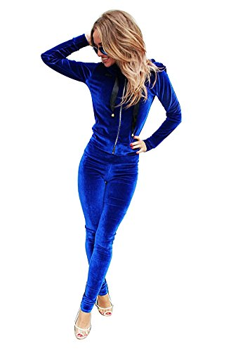YOUJIA 2pcs Damen Trainingsanzug mit Kapuze Sportanzug Zip Up Sweatshirt Trousers Sportanzug Velours Jogginganzug Jacke Hose (Blau, CN S) (Hose Velour Blau)